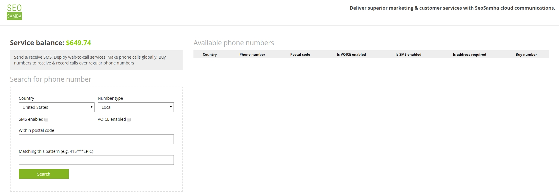 search for a phone number with desired options