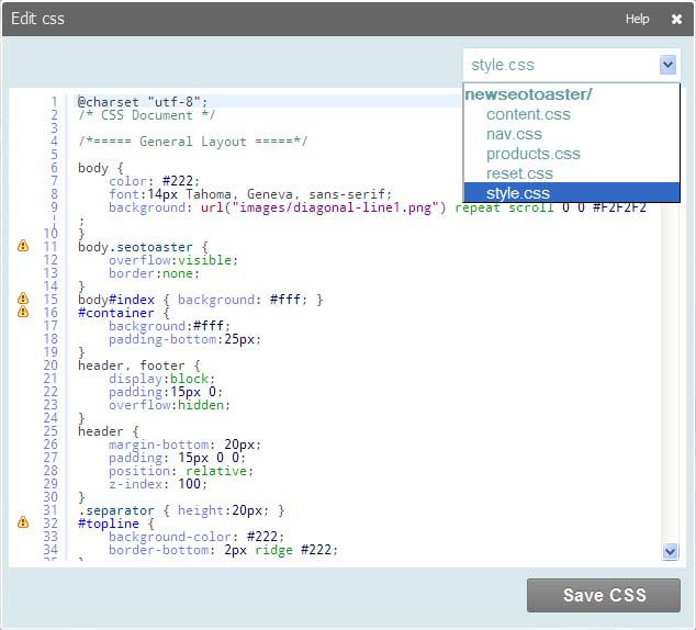 edit css screen1