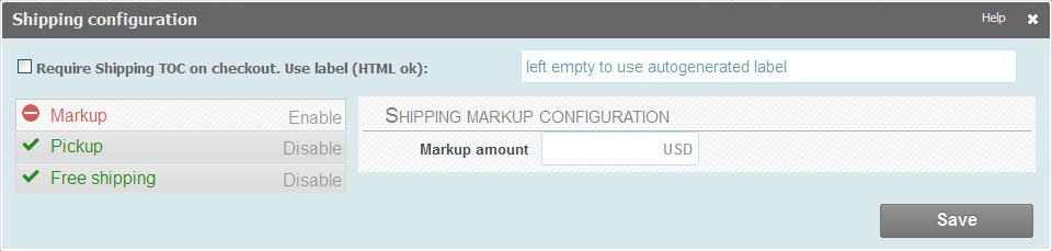 shipping configuration