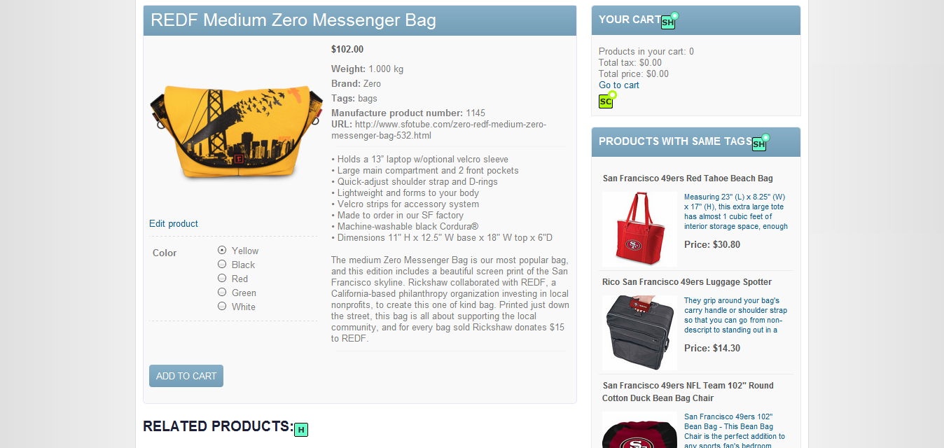optionally related products or products using the same tags can also